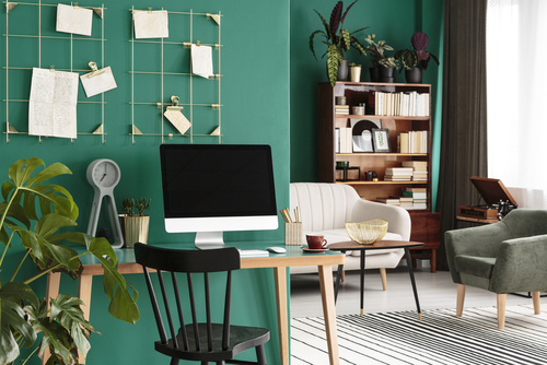 Living room with workspace interior