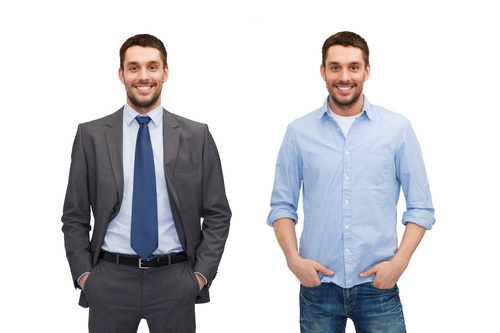 same man in different style clothes